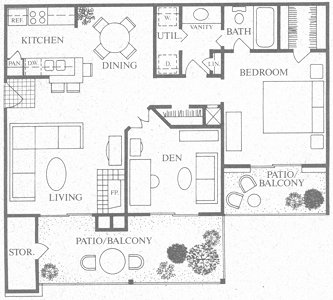 875 sq. ft. to 877 sq. ft. C floor plan