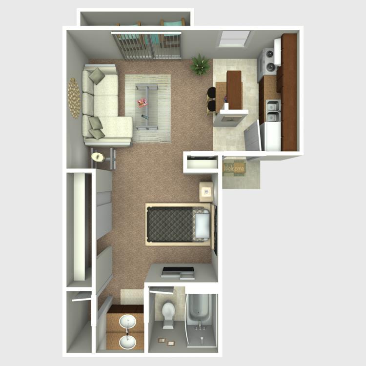 414 sq. ft. E4 floor plan