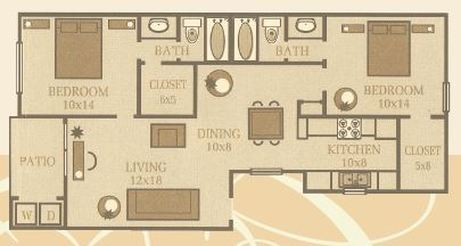 980 sq. ft. Magnolia floor plan