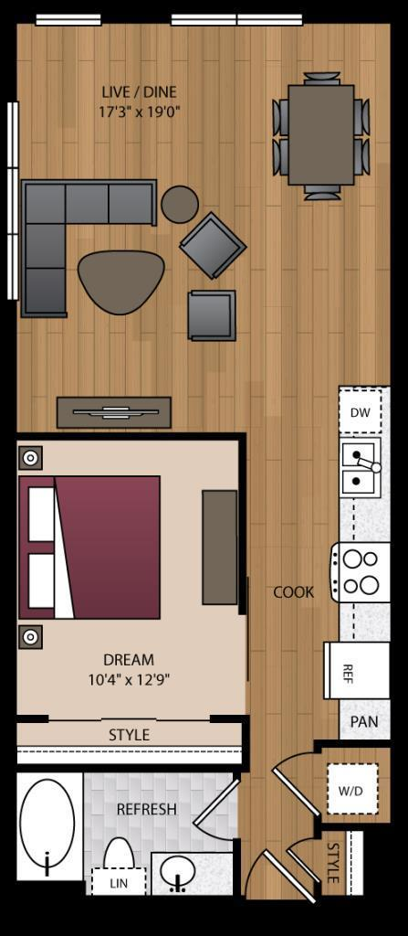 746 sq. ft. A3.5 floor plan