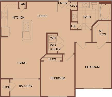 948 sq. ft. B2-HC 60% floor plan