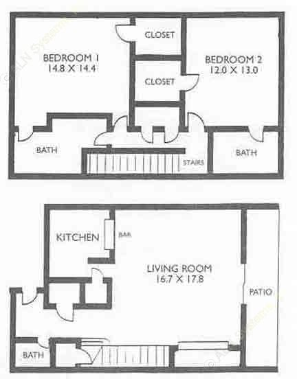 1,283 sq. ft. B2 floor plan