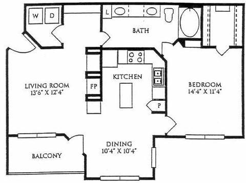 879 sq. ft. A4-GAR floor plan