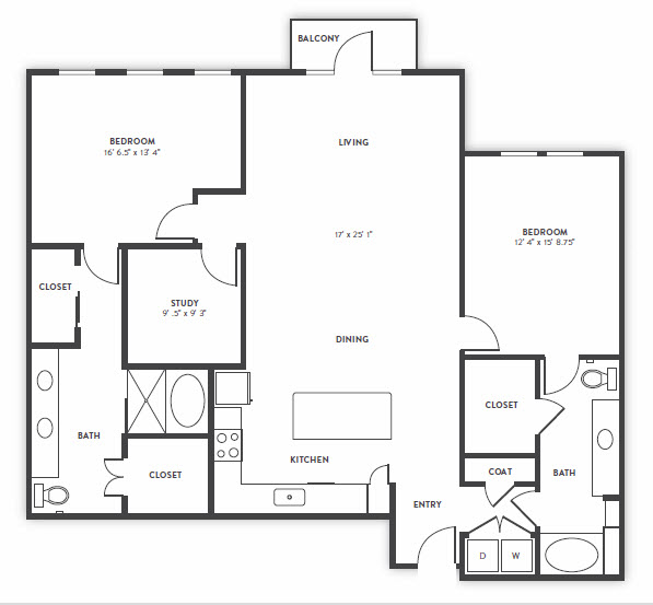 1,628 sq. ft. B5 floor plan