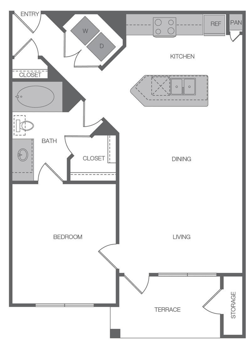733 sq. ft. A1 floor plan