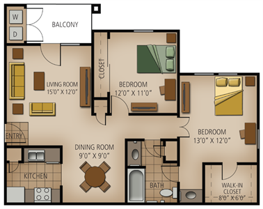 886 sq. ft. Kerrville floor plan