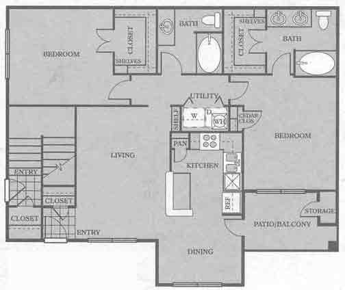1,263 sq. ft. B4 floor plan