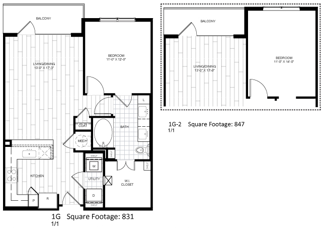 831 sq. ft. 1G floor plan