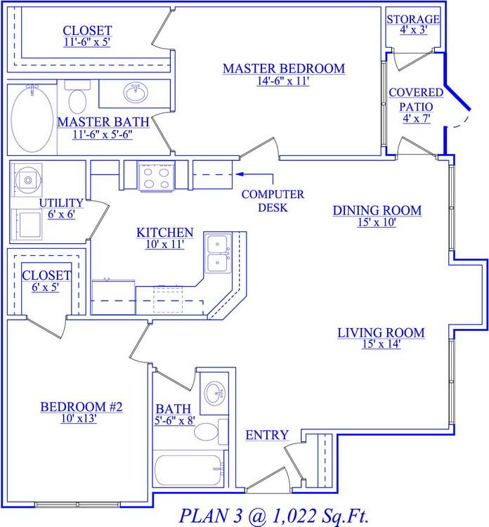 1,022 sq. ft. floor plan