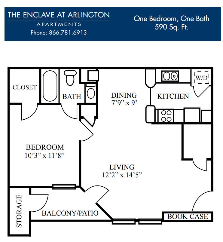 590 sq. ft. B floor plan