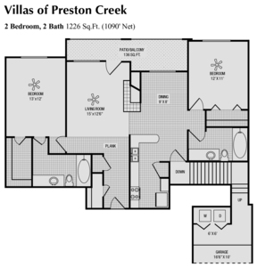 1,090 sq. ft. E floor plan