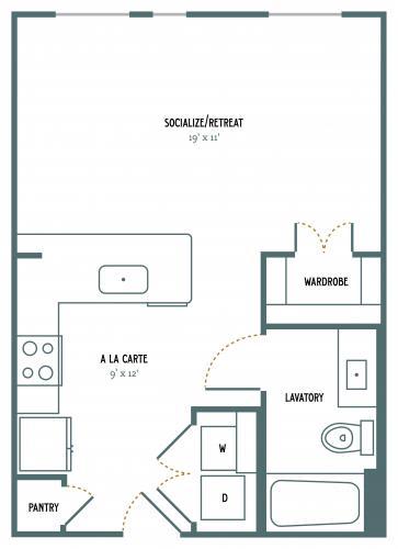 523 sq. ft. E1 floor plan