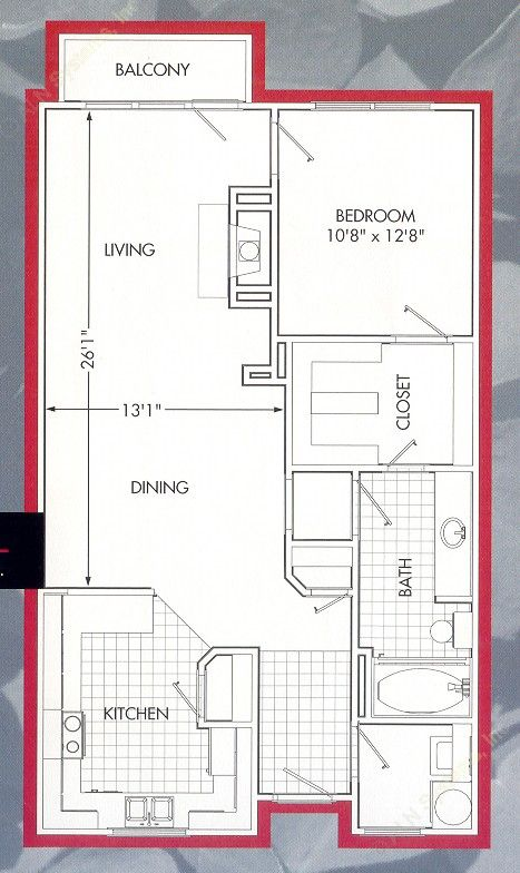 944 sq. ft. Lakeside A floor plan
