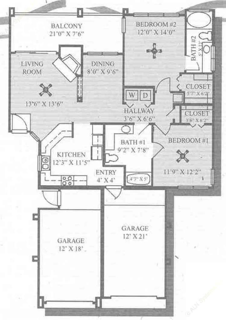 1,149 sq. ft. B3-GAR floor plan
