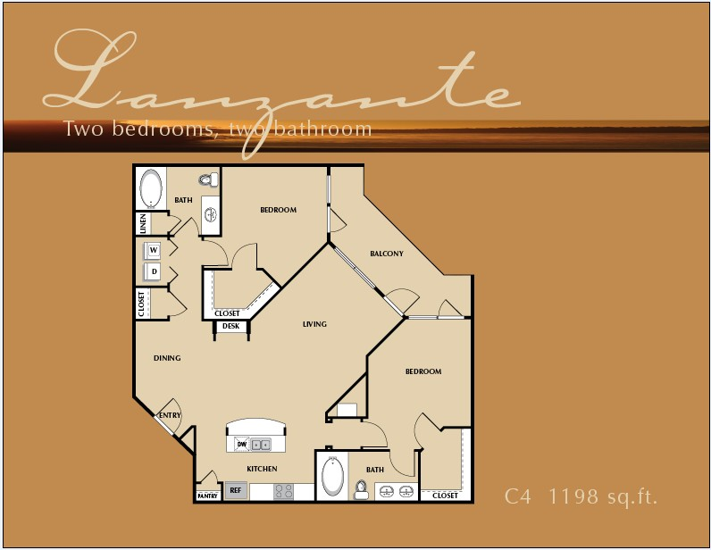1,198 sq. ft. B4 floor plan