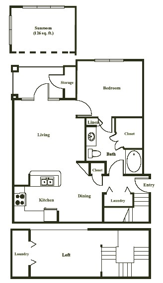 1,014 sq. ft. SEVILLE floor plan
