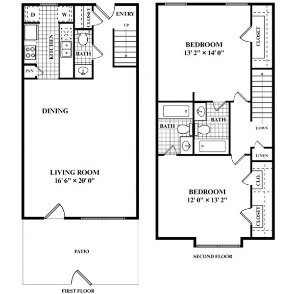 1,139 sq. ft. S2 floor plan