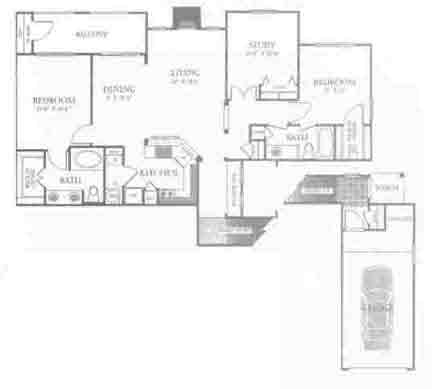 1,445 sq. ft. C3 floor plan