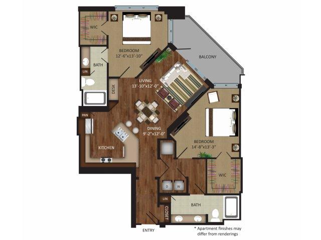 1,254 sq. ft. B3 floor plan