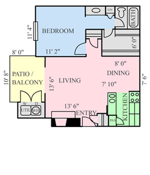 648 sq. ft. A3 floor plan