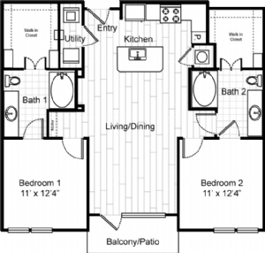 1,103 sq. ft. to 1,137 sq. ft. B0 floor plan