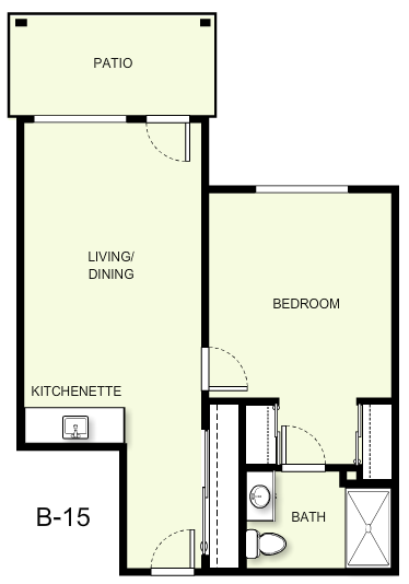 602 sq. ft. B15 floor plan