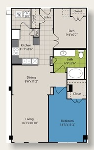 942 sq. ft. A9 floor plan