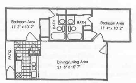 770 sq. ft. B2/50% floor plan