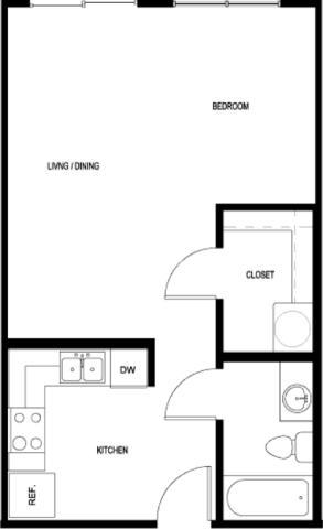 523 sq. ft. E3-II floor plan