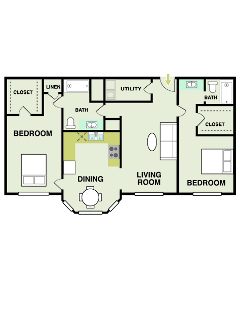 1,322 sq. ft. floor plan