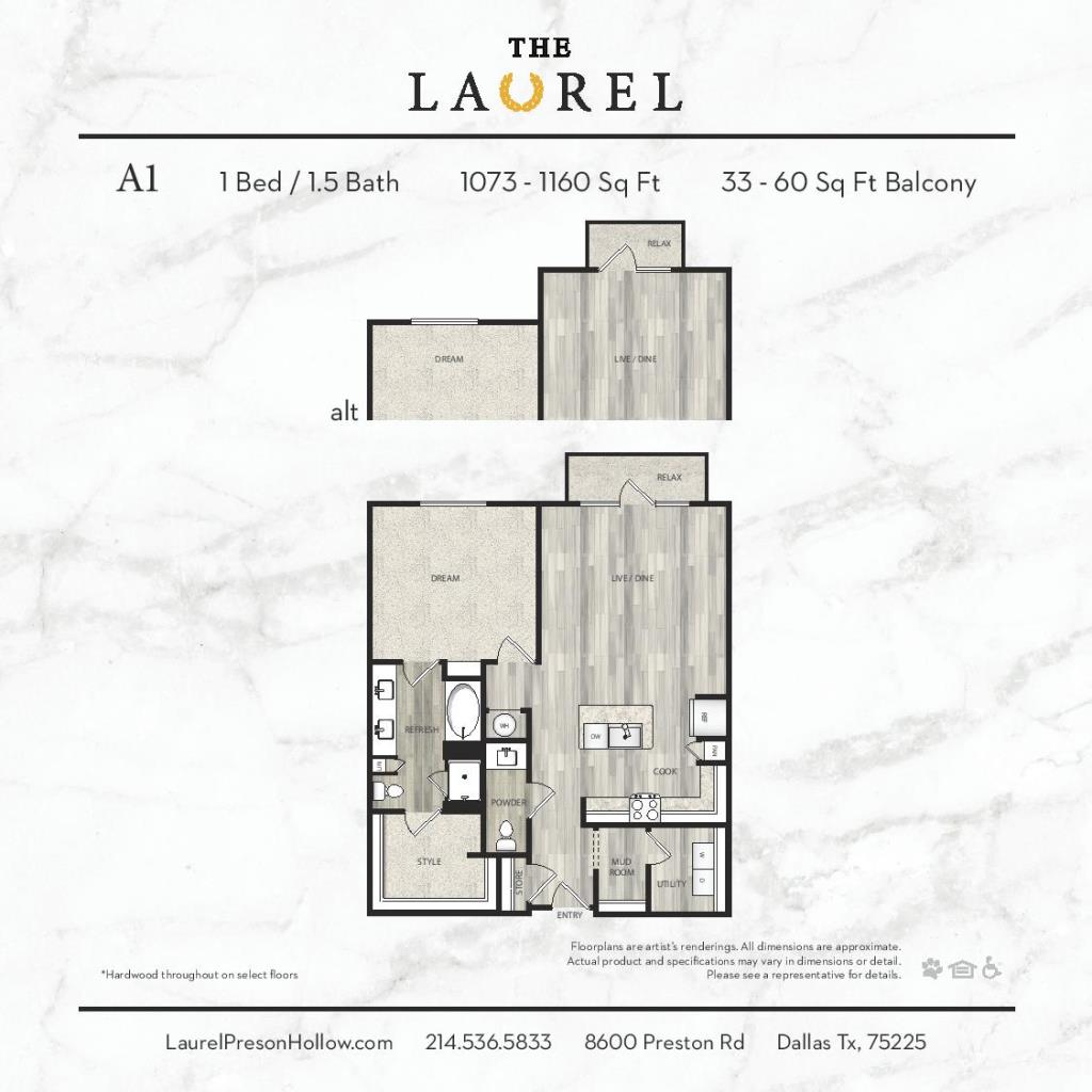 1,073 sq. ft. to 1,160 sq. ft. A1 floor plan