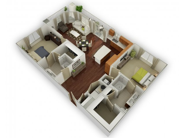 1,292 sq. ft. B3 floor plan