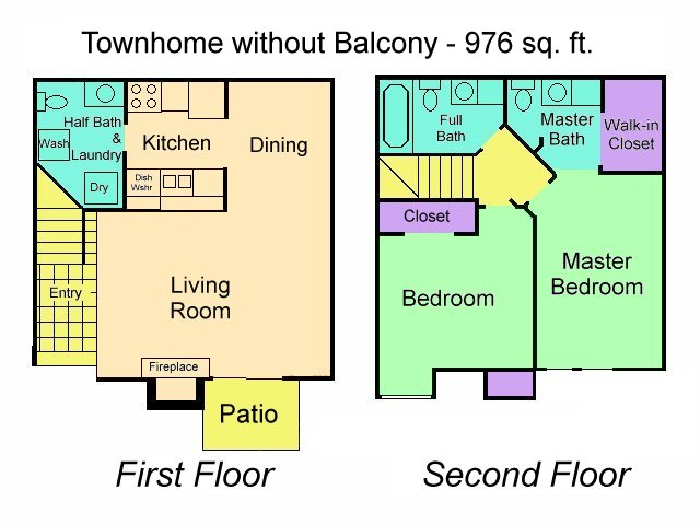 976 sq. ft. TH w/Out Balcony floor plan