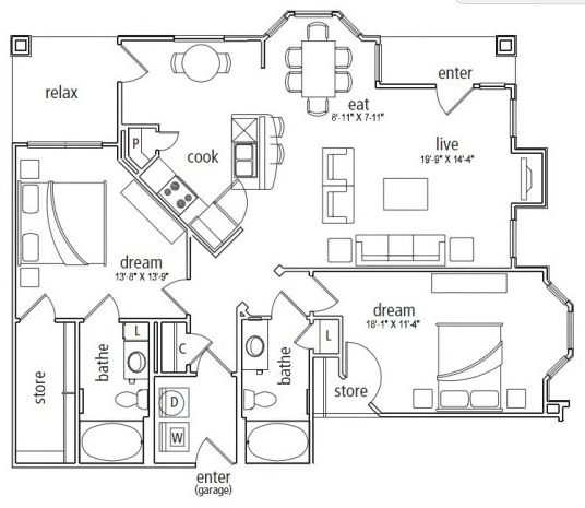 1,358 sq. ft. London floor plan