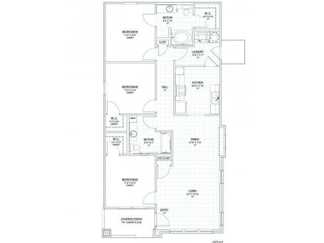 1,373 sq. ft. C2 floor plan