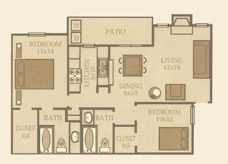 970 sq. ft. Birch floor plan