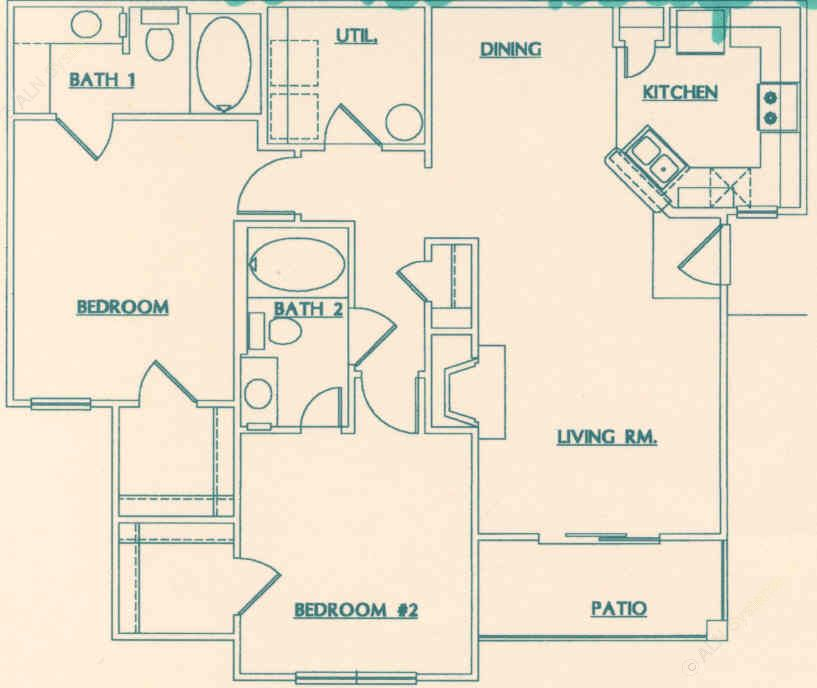 1,143 sq. ft. D floor plan
