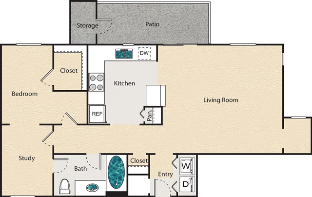 891 sq. ft. G - Kensington floor plan