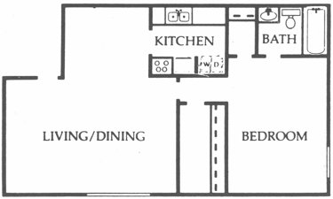 848 sq. ft. Walnut floor plan
