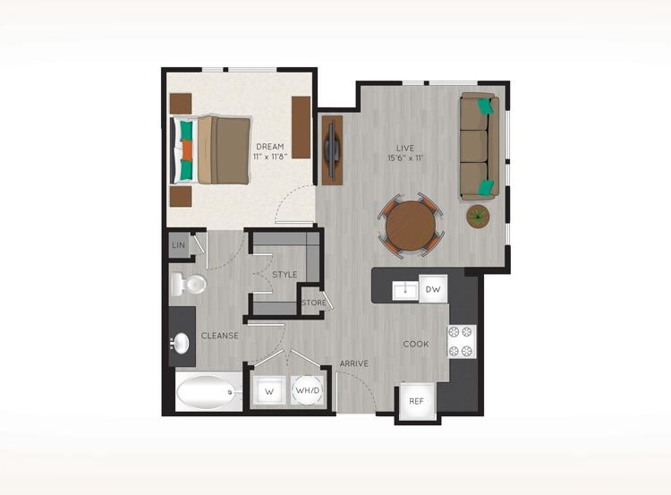 587 sq. ft. to 635 sq. ft. A1 floor plan