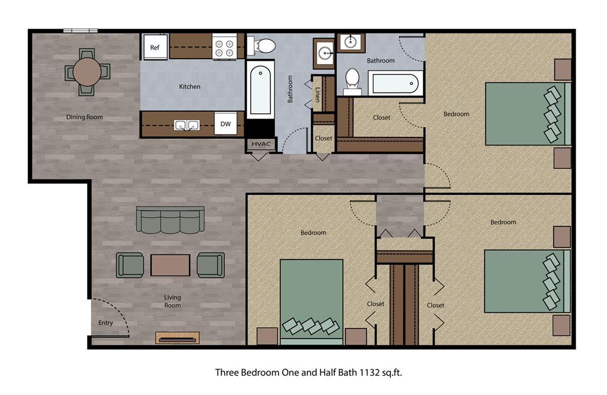 1,132 sq. ft. floor plan