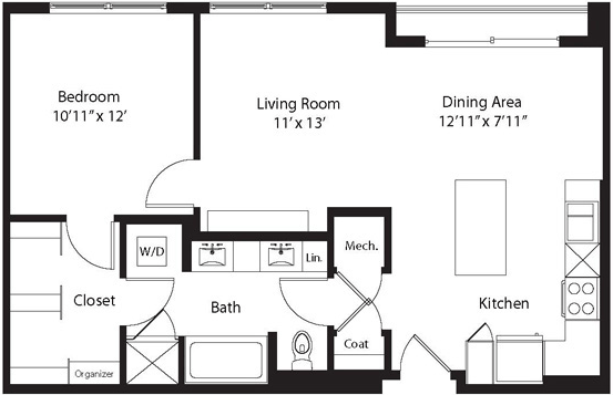 809 sq. ft. LK floor plan