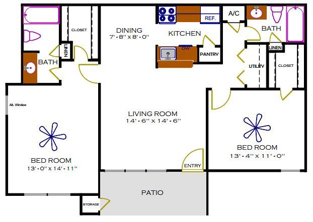 976 sq. ft. D/Maple floor plan