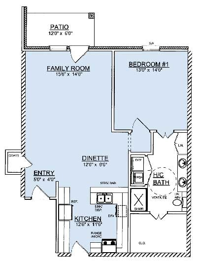 1,075 sq. ft. A5 floor plan