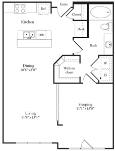 759 sq. ft. D floor plan