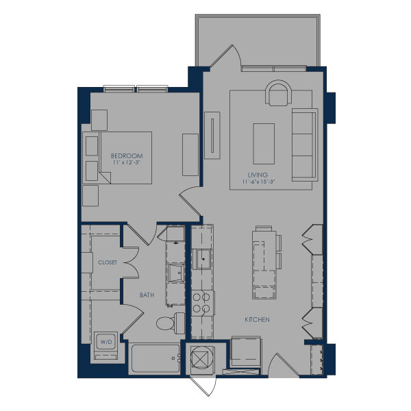 699 sq. ft. A24B floor plan
