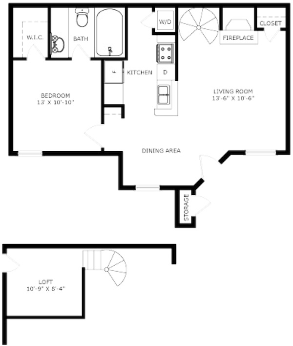 640 sq. ft. Derby floor plan
