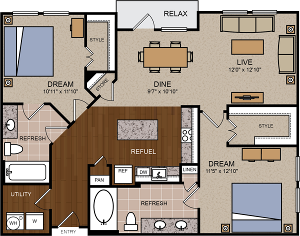 1,170 sq. ft. B3 floor plan