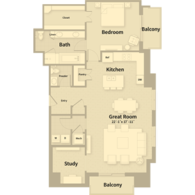 1,444 sq. ft. C4 floor plan