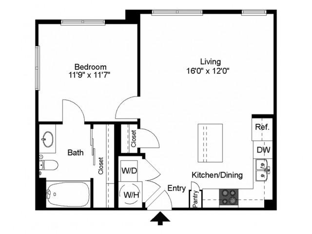686 sq. ft. A3 floor plan
